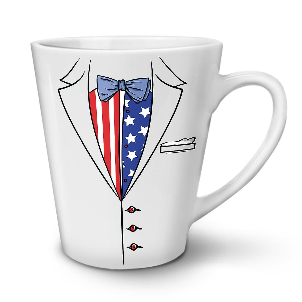 OzWellcoda Américain Blanche Tasse Latte Café Drapeau 12 Céramique En Costume Nouvelle DYeI9WH2E