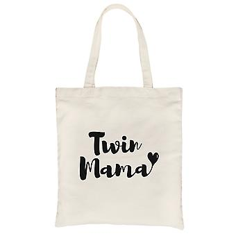 Twin Mama Natural Heavy Cotton Canvas Bag Washable Tote Mom Gifts