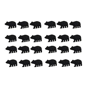 Matte Black Cast Iron Forest Bear Drawer Cabinet Pull Set of 24