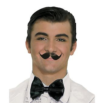 Englishman 1920s Butler Villain Handlebar Black Mens Costume Winged Moustache