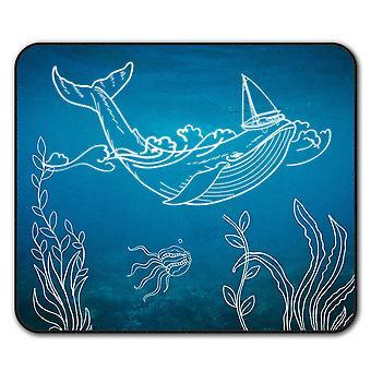 Whale Fish Cute Animal  Non-Slip Mouse Mat Pad 24cm x 20cm | Wellcoda