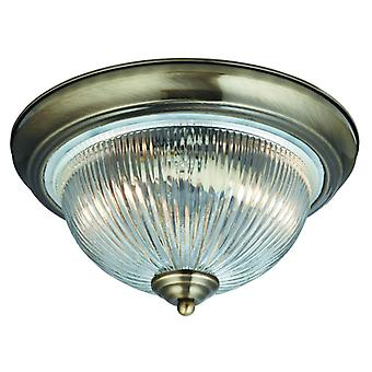 American Diner/Flush Ip44 Antique Brass Clear Glass