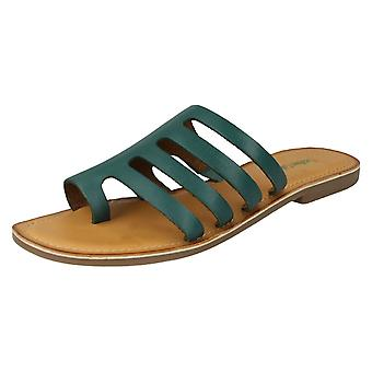 Ladies Leather Collection Flat Strappy Sandals F00125 - Green Leather - UK Size 4 - EU Size 37 - US Size 6