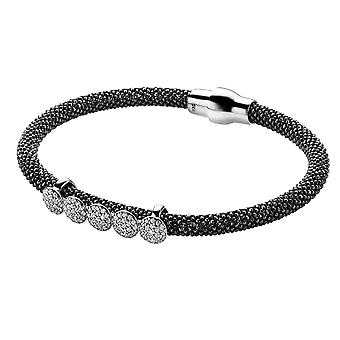 Orphelia Silver 925 Bangle Black With White Zirc  ZA-6096