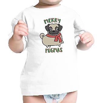 Wesołych Pugmas Mops zabawny niemowląt Graphic Tee ładny prezent dla miłośników Mops