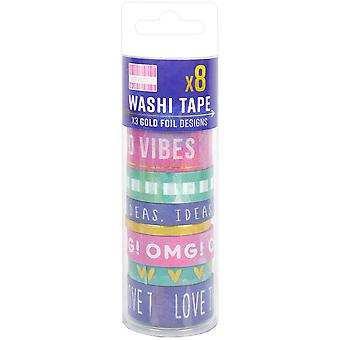 First Edition Washi Tape 10M Rolls 8/Pkg-Watercolour