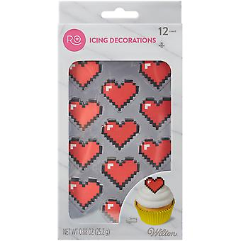 Ro Nerdy Nummies Icing Decorations 12/Pkg-8-Bit Heart