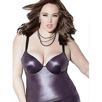 Plus Size Wet Look Molded Underwire Push Up Tank Top