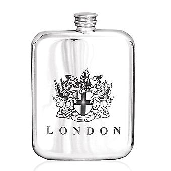London Coat of Arms Crested Pewter Flask - 6oz