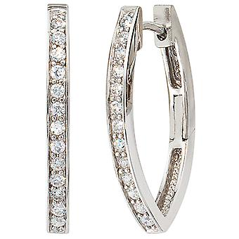 Hoops oval 925 sterling silver with cubic zirconia earrings kitchen