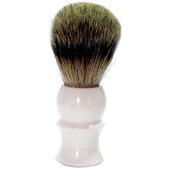 modern shaving brush Badger plucking hair with a white plastic for easy operation handle