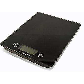 Electronic Kitchen Scales LCD Black Slim Glass - 5kg Capacity