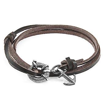 Anchor & Crew Dark Brown Clyde Anchor Silver and Flat Leather Bracelet