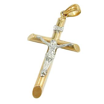 Pendant crucifix two tone 9k gold