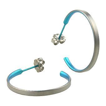 Ti2 Titanium Medium Hoop Earrings - Kingfisher Blue
