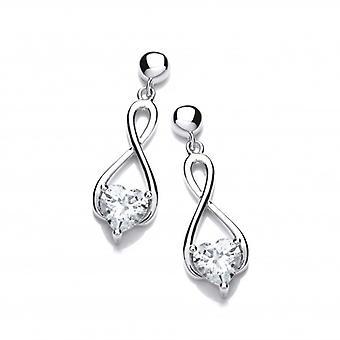 Cavendish franska Silver och Cubic Zirconia hjärta keltiska Twist örhängen
