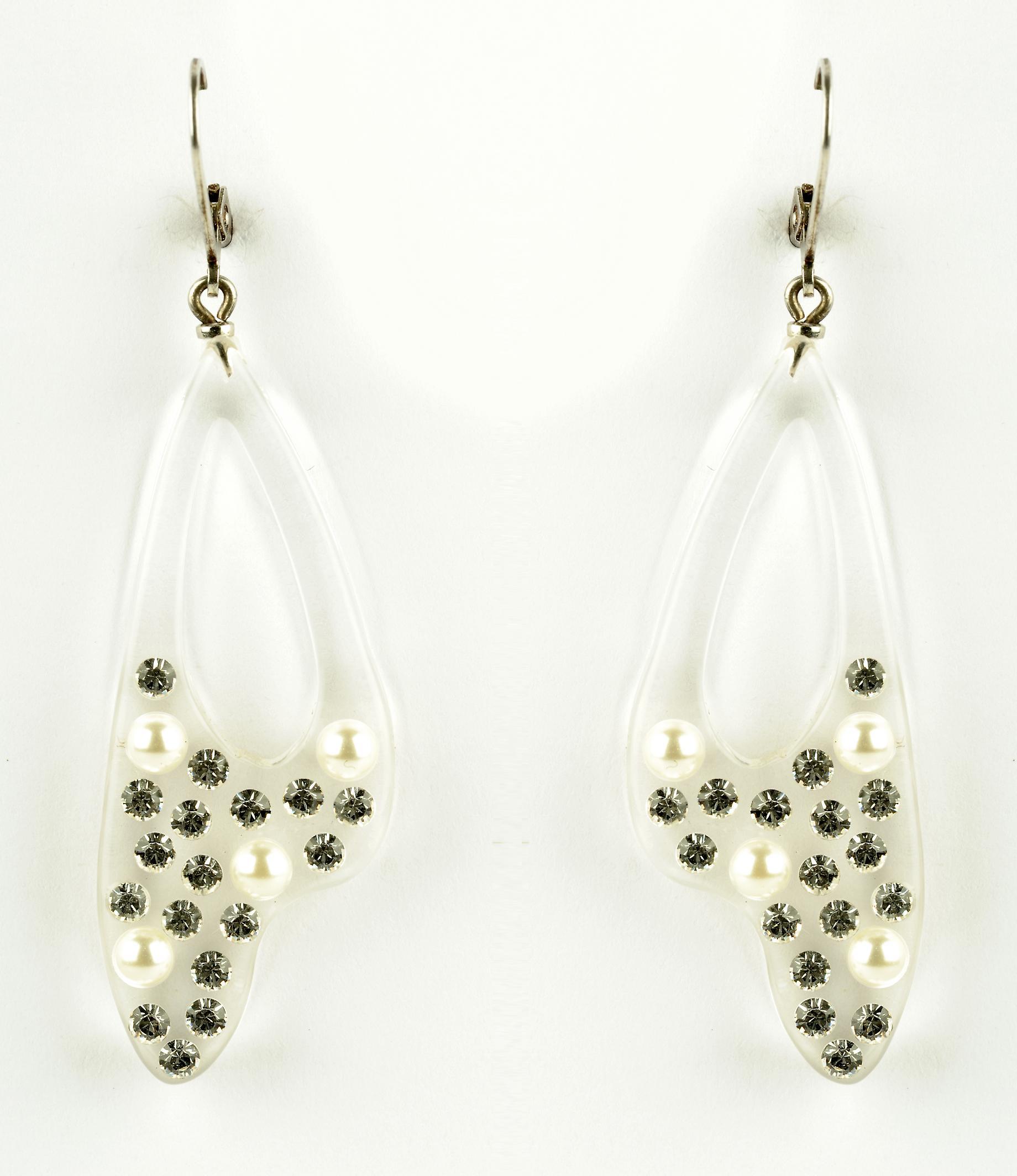 Waooh - Bijoux Fantaisie - WJ0807 - Boucles D'Oreille avec Strass Swarovski Gris Style Diamant & Perles Blanc Nacre sur Monture Perspex Transparente