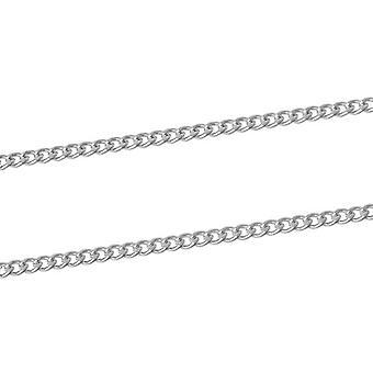 10m x zilveren vergulde ijzeren legering 2.2 x 3mm gesloten Curb Chain CH1320