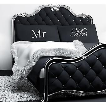 Black Mr and Mrs Pair of Pillow Cases