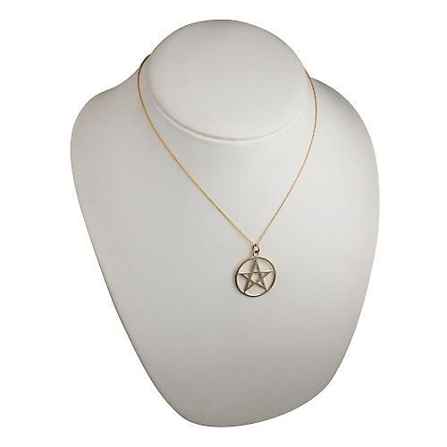 9ct Gold 30mm plain Pentangle in circle Pendant with a cable Chain 18 inches