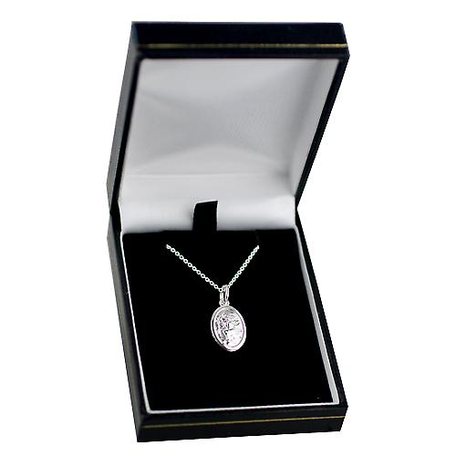 Silver 17x11mm oval St Christopher Pendant with a rolo Chain 14 inches Only Suitable for Children