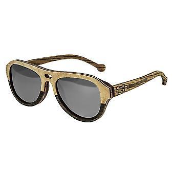 Earth Wood Clearwater Polarized Sunglasses - Brown Stripe-Ebony/Black