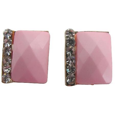 Blush Pink Rectangular Stud Earrings with Rhinestones Great Gift
