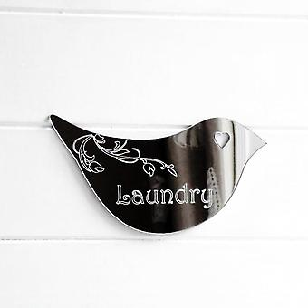 Floral Dove Acrylic Mirror Door or Wall Sign - LAUNDRY