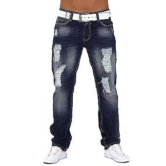 Mænd Jeans Designer ødelagt Straight Clubwear natur Park Center rippet