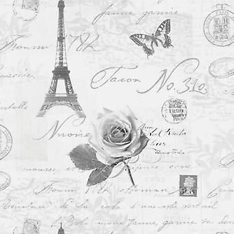 Holden kalligrafie Parijs ansichtkaarten reizen Eifell Tower zilver grijs behang