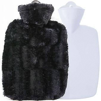 Hugo Frosch Hot Water Bottle In Soft Black Cover Estravaganza 1.8L