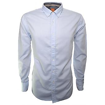 Hugo Boss Casual Hugo Boss Orange Men's EdipoE Open Blue Long Sleeve Shirt