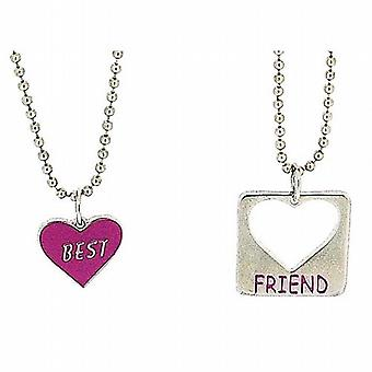Foxy Best Friend Necklaces Heart Shaped Pendant Twin 16 Inch Chains  2-Pack