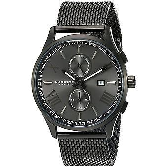 Akribos XXIV Männer Multifunktion Edelstahl-Armband Watch AK905BK