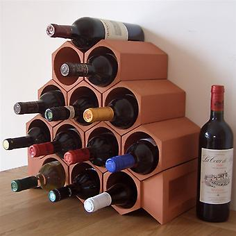 Terracotta Wine Rack for 13 Bottles with Key Stones