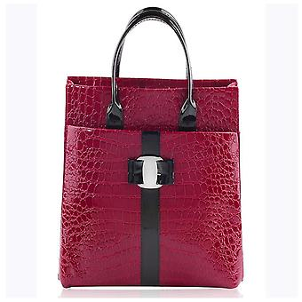 Designer womens faux patent leather large croc style satchel briefcase