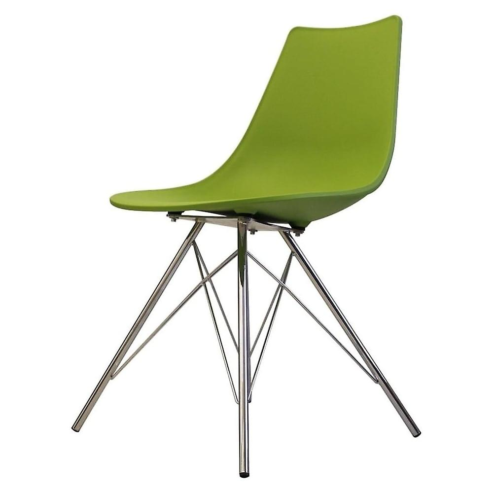 Fusion Living Iconic vert Plastic Dining Chair With Chrome Metal Legs