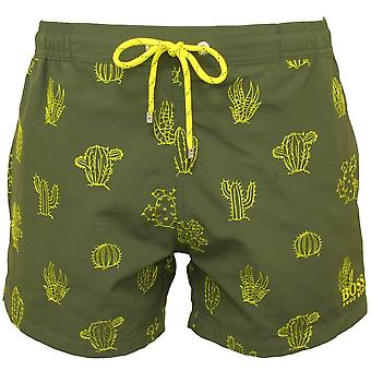 Boss Cactus Embroidery Swim Shorts, Khaki/yellow