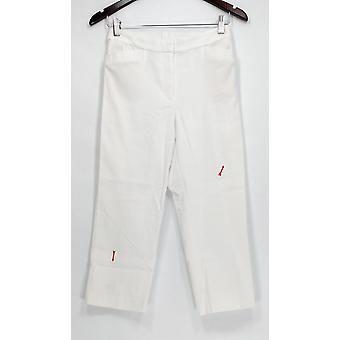 Susan Graver Pants Ultra Stretch Zip Front Capri White A289675
