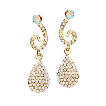 14K Gold Plated Swarovski Elements Crystals And Simulated Pearl Earrings, 4cm