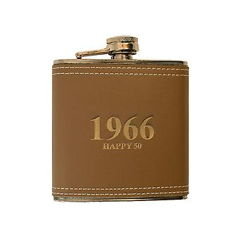 6oz leather 1966 happy 50 flask l1