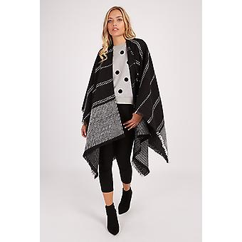 Louche Cecil Black And White Stripe Poncho