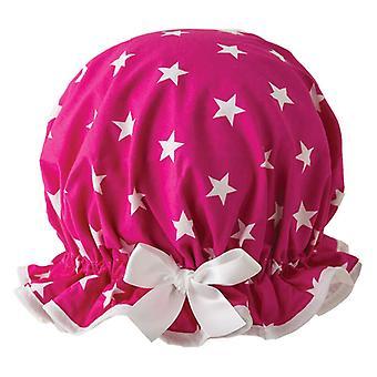 Cerise Star Shower Cap