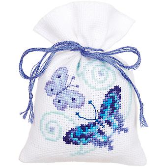 Blue Butterflies Bags On Aida Counted Cross Stitch Kit-3.25