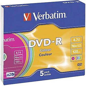 Blank DVD-R 4.7 GB Verbatim 43557 5 pc(s) Slim case Colour