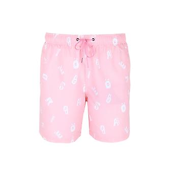 Boardies Flamingo Pink Patterned Swim Shorts