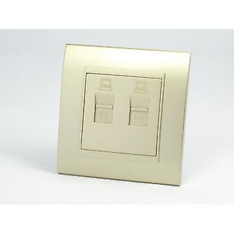 I LumoS AS Luxury Gold Plastic Arc Single 2 X Internet Socket