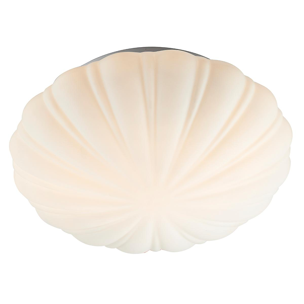 Dar CAF502 Cafe Bathroom Flush Ceiling Light With Shell Design Opal Glass