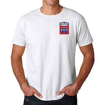 US Army 82nd Airborne Division Embroidered Logo - Ringspun Cotton T Shirt