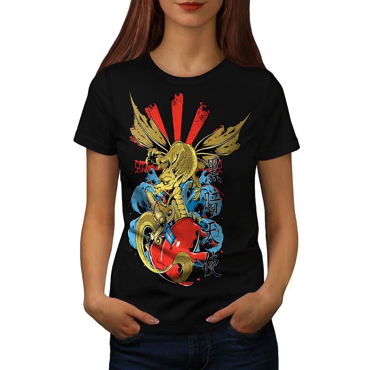 Mostro drago cuore Love Hurts donne t-shirt nera | Wellcoda